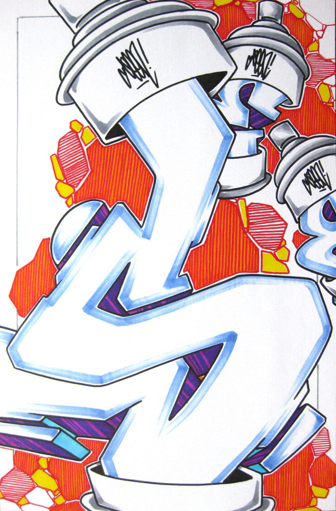 GRAFFITI ARTIST SEEN - Can #10- Drawing 11x17