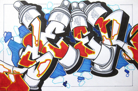 GRAFFITI ARTIST SEEN - Can #12- Drawing 11x17