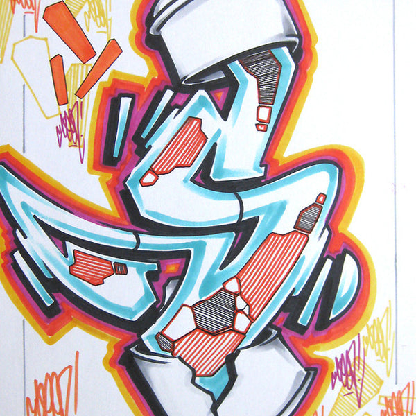 GRAFFITI ARTIST SEEN - Can #13- Drawing 11x17