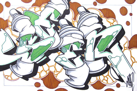 GRAFFITI ARTIST SEEN - Can #7- Drawing 11x17