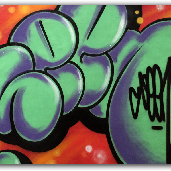 "GRAFFITI ARTIST SEEN  -  ""Green Super Bubble 3""  Aerosol on  Canvas"
