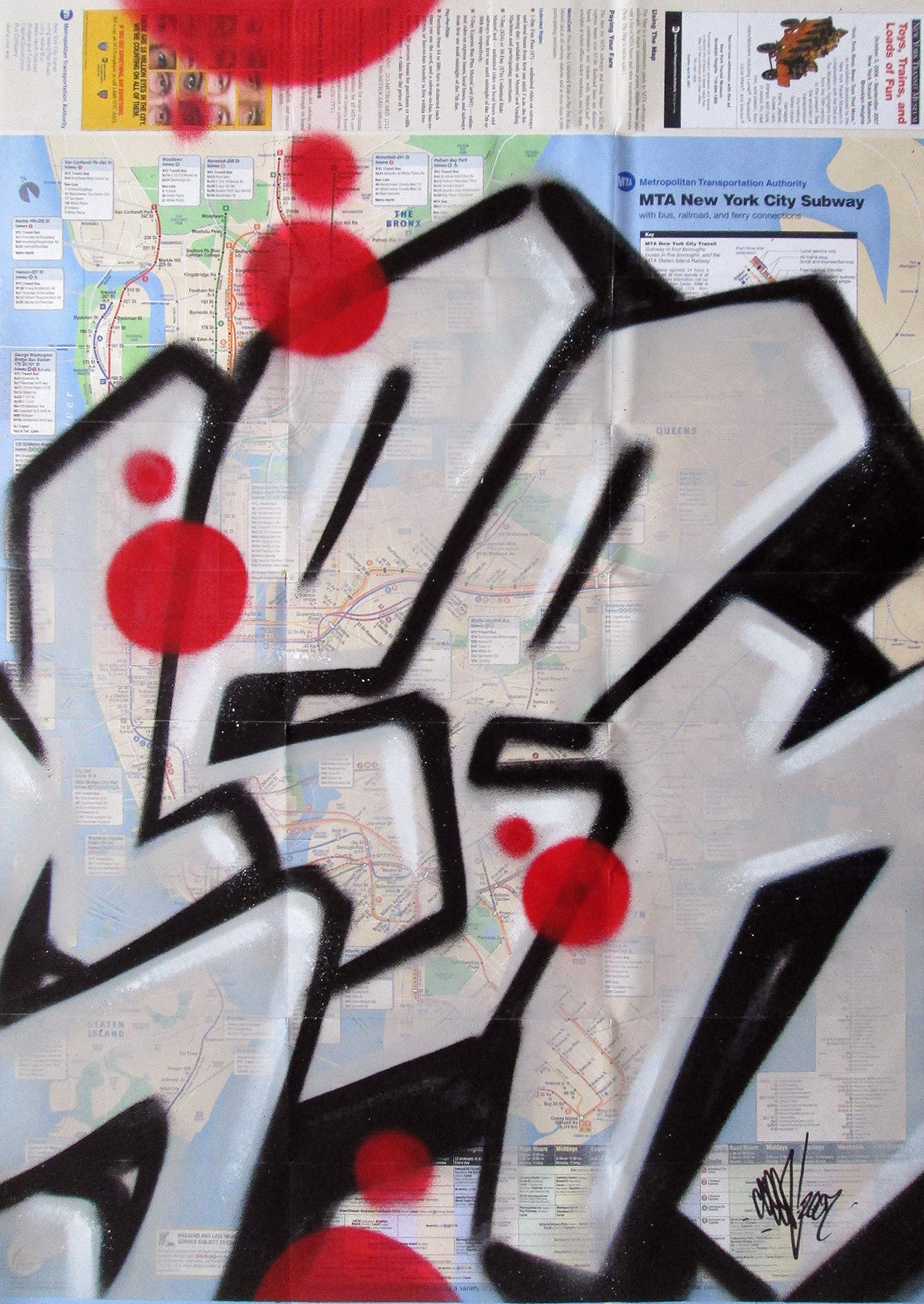 "GRAFFITI ARTIST SEEN -  ""Full SEEN Grey"" NYC Map"