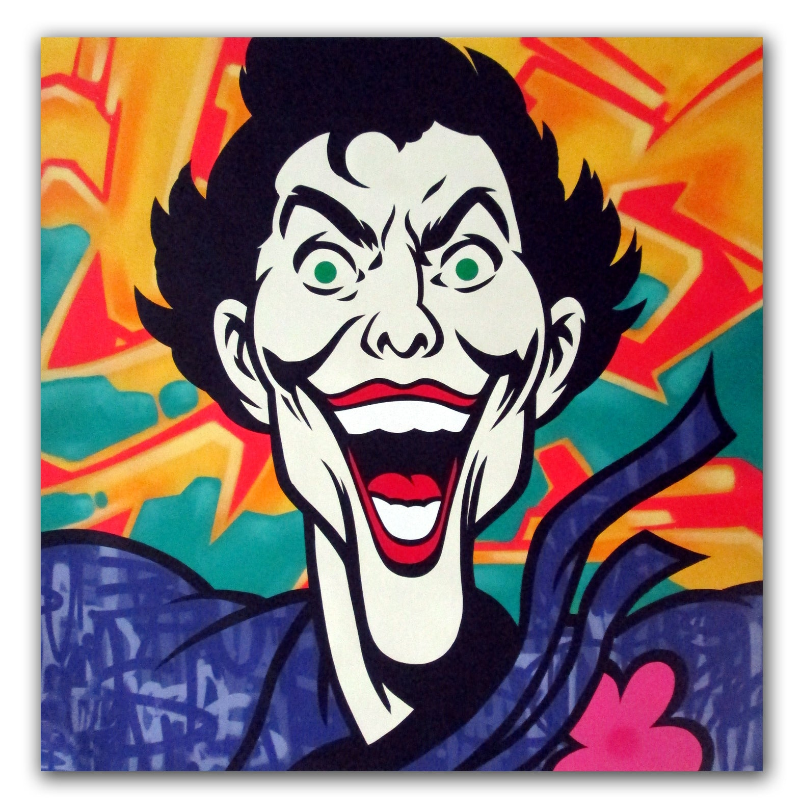 Graffiti Artist Seen Joker Aerosol On Canvas Dirtypilot