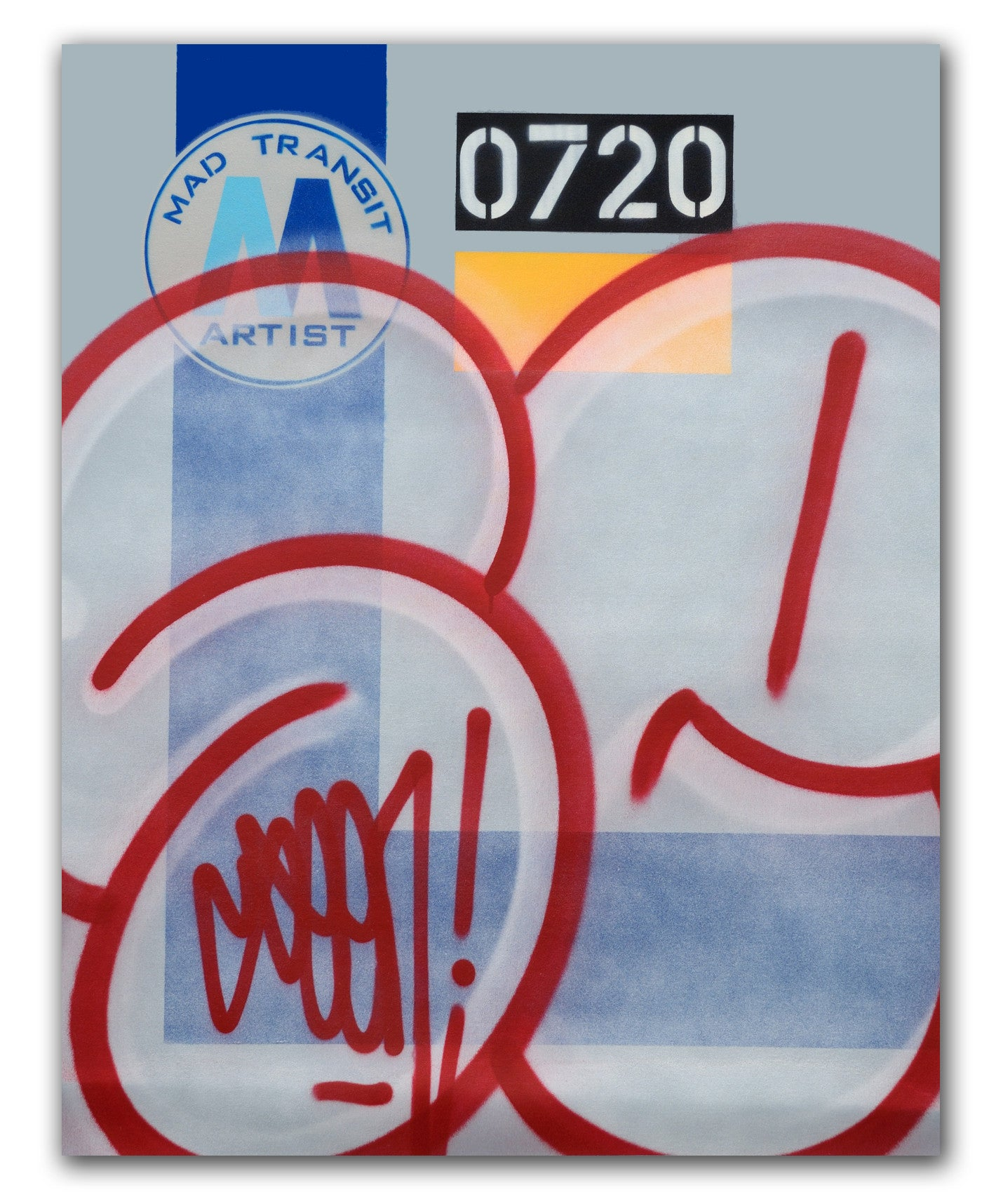 "GRAFFITI ARTIST SEEN  -  ""MTA Bubble""  Aerosol on  Canvas"