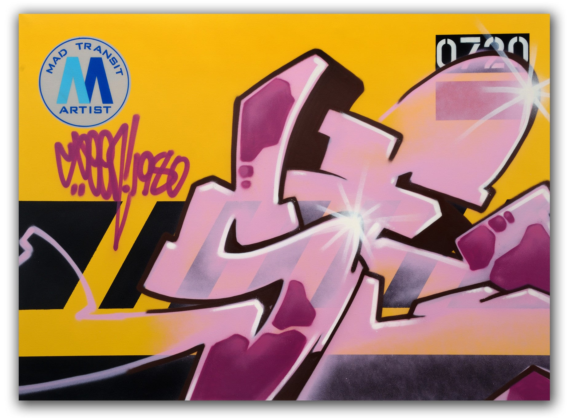 "GRAFFITI ARTIST SEEN  -  ""MTA Service Train""  Aerosol on  Canvas-"