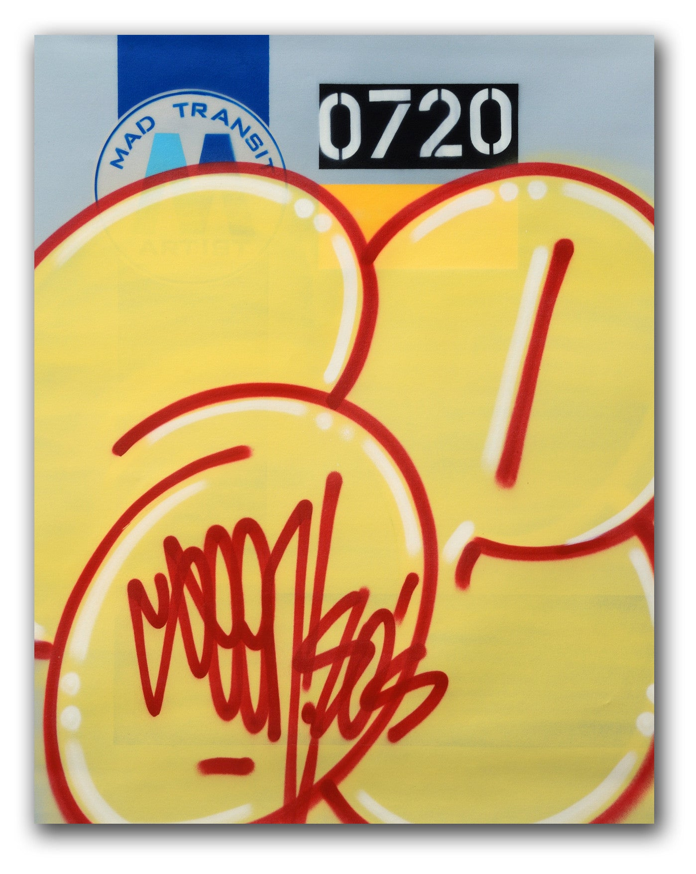 "GRAFFITI ARTIST SEEN  -  ""MTA Yellow Bubble ""  Aerosol on  Canvas"