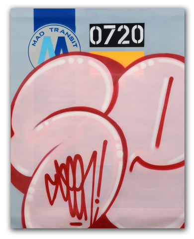 "GRAFFITI ARTIST SEEN  -  ""MTA Pink Bubble""  Aerosol on  Canvas"
