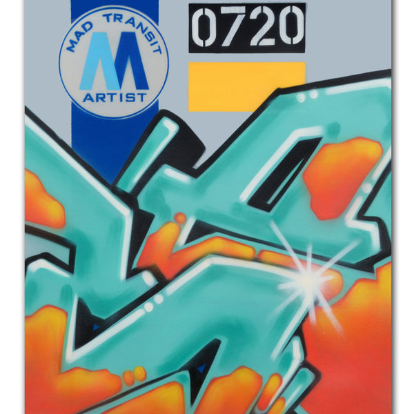"GRAFFITI ARTIST SEEN  -  ""MTA""  Aerosol on  Canvas"