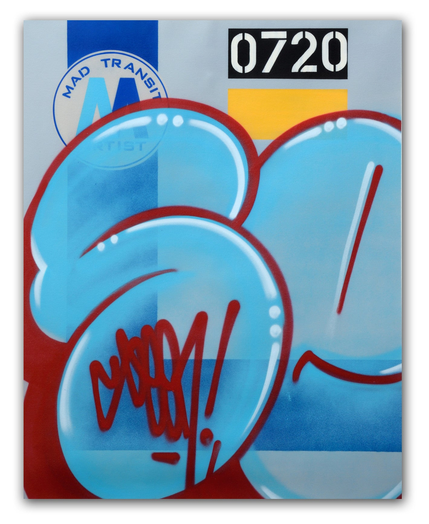 "GRAFFITI ARTIST SEEN  -  ""MTA Blue Bubble""  Aerosol on  Canvas"