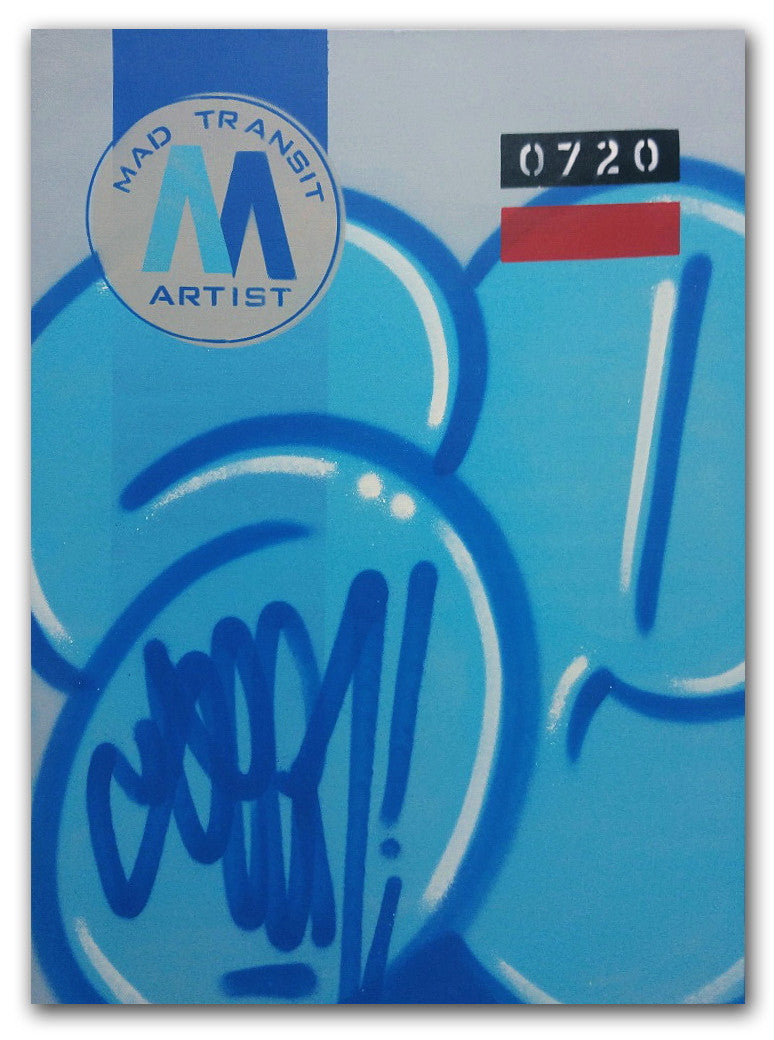 "GRAFFITI ARTIST SEEN -  ""MTA - Stretched"" 23.5x31.5""  Aerosol on  Linen"