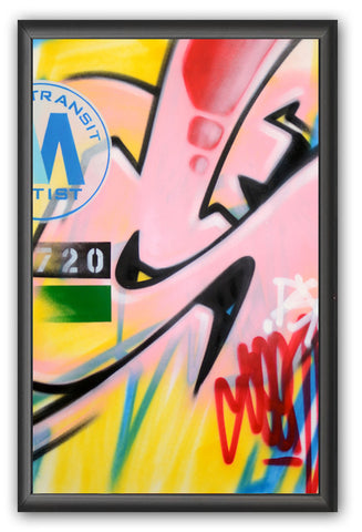"GRAFFITI ARTIST SEEN -  ""Subway S #12""  Painting on paper"