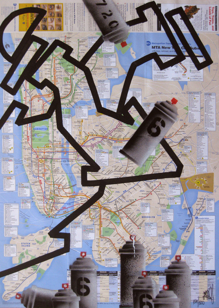 Nyc Subway Map Scan.Graffiti Artist Seen