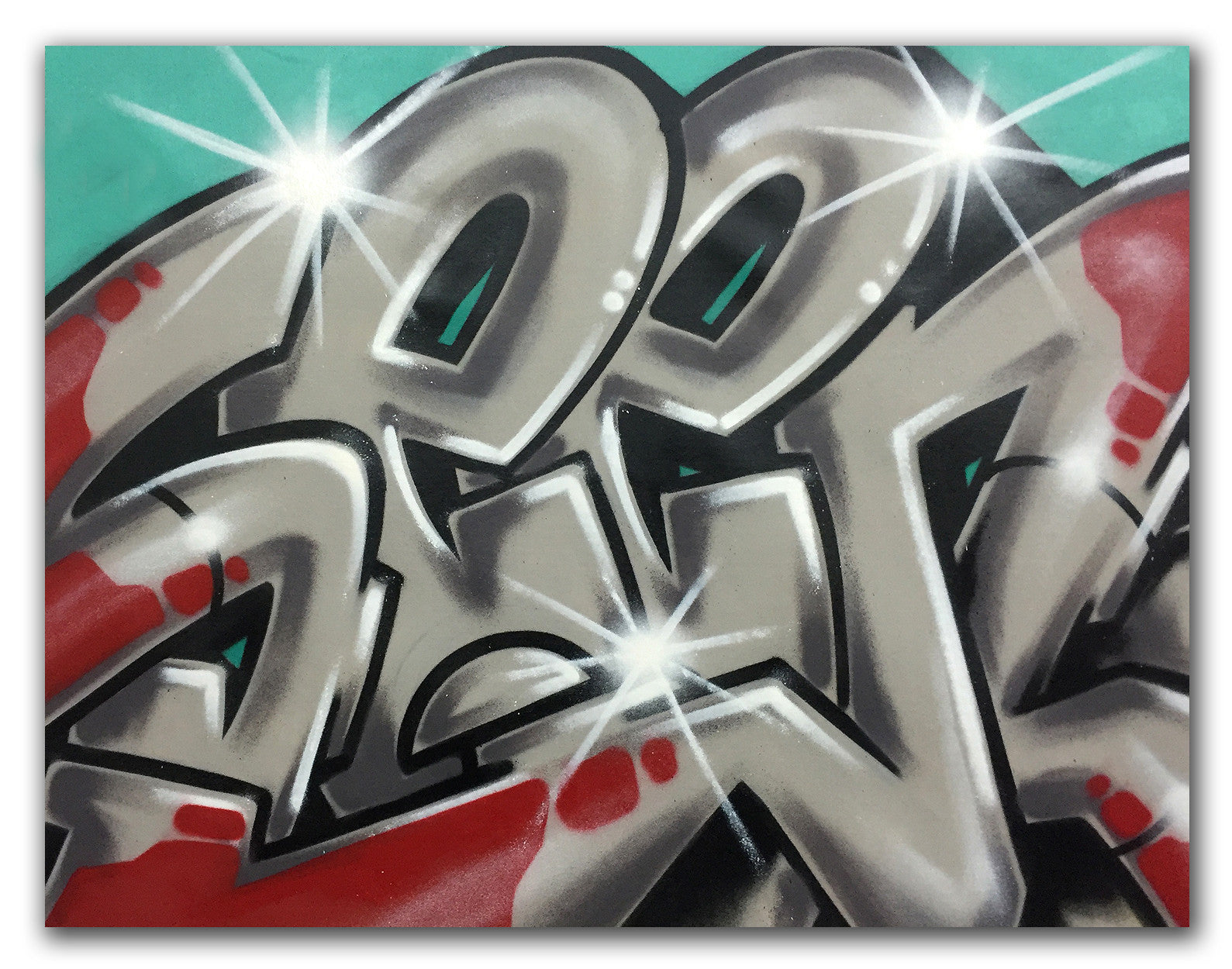 "GRAFFITI ARTIST SEEN  -  ""Silver SEEN"" -   Aerosol on  Canvas"