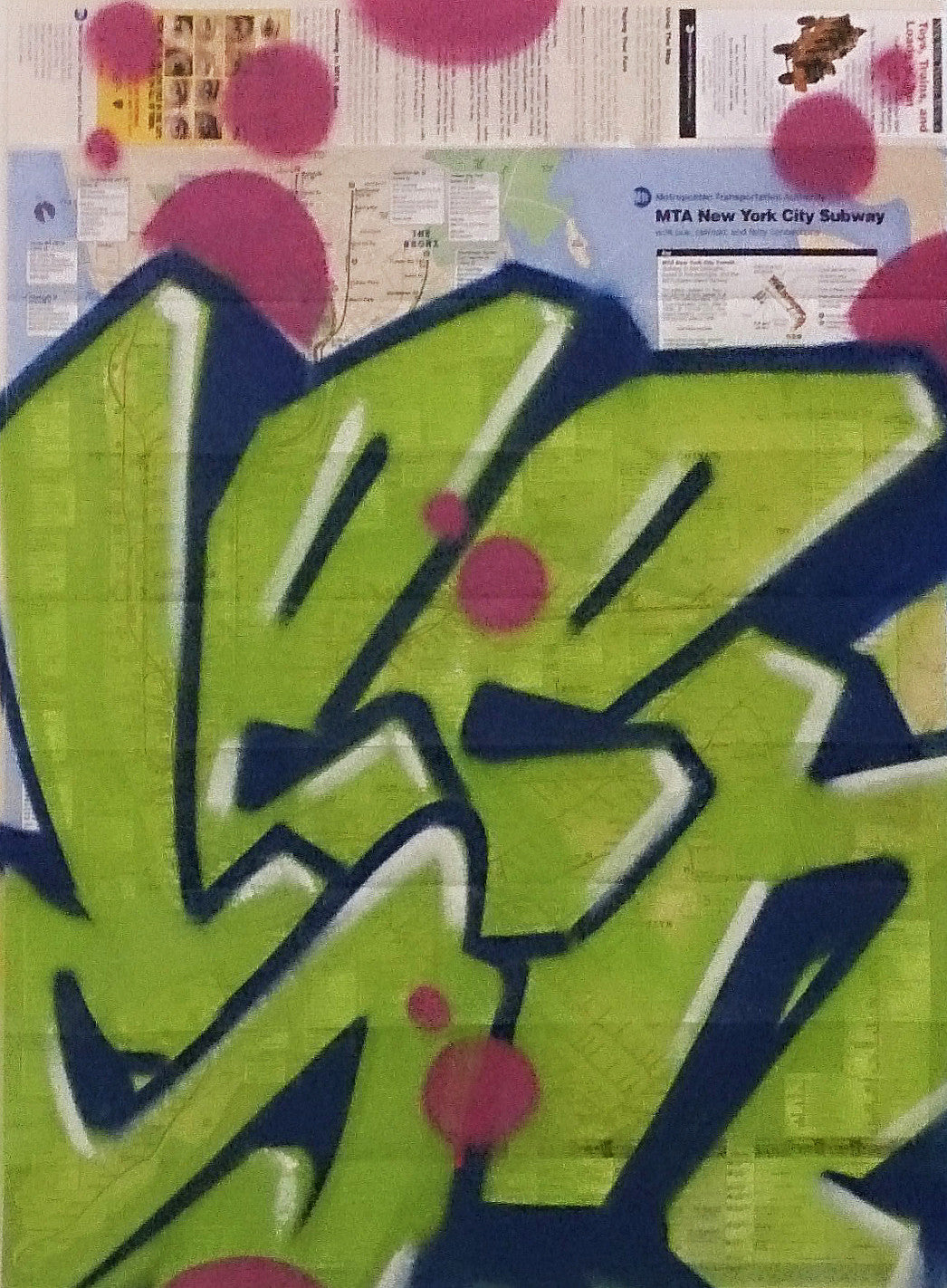 "GRAFFITI ARTIST SEEN -  ""Full SEEN Green"" NYC Map"