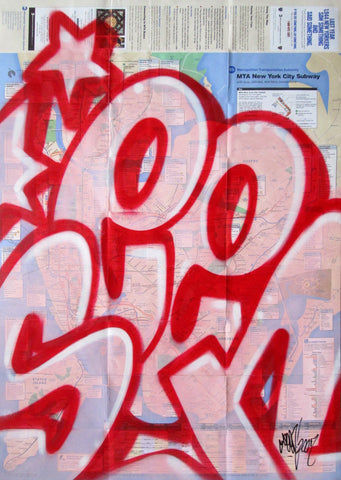 "GRAFFITI ARTIST SEEN -  ""Full SEEN Pink Bubble"" NYC Map"