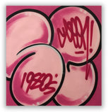 "GRAFFITI ARTIST SEEN  -  ""Signature Bubble""   Aerosol on  Canvas"