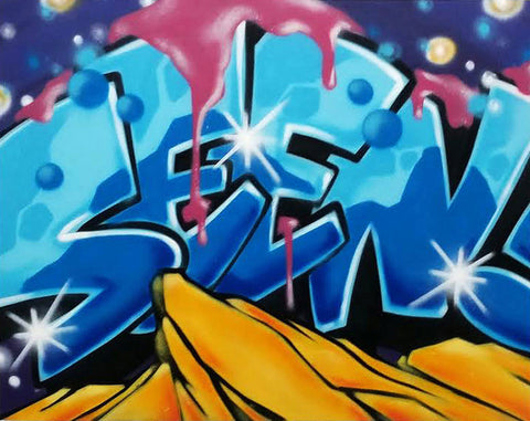 "GRAFFITI ARTIST SEEN  -  ""SEEN""  Aerosol on  Canvas"