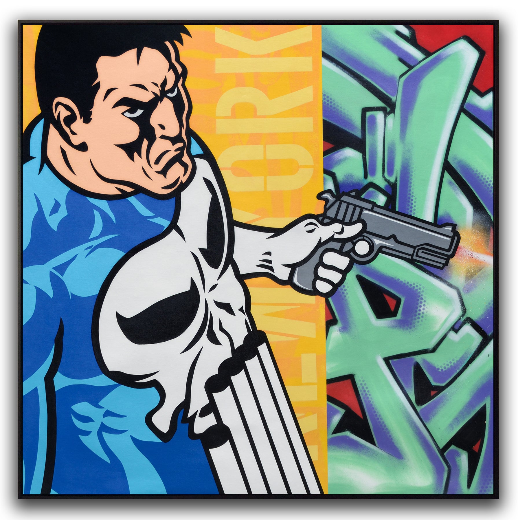 "GRAFFITI ARTIST SEEN  -  ""Punisher""  Aerosol on  Canvas"