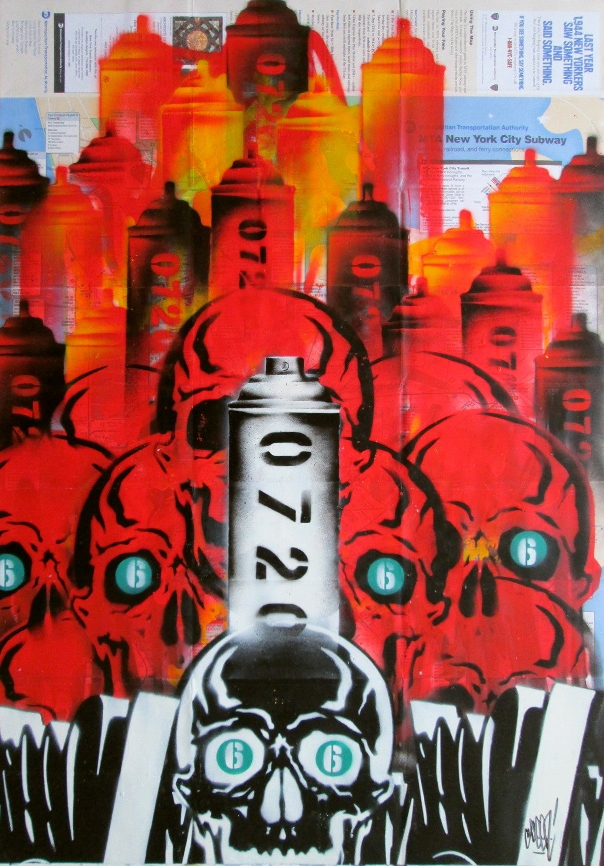 "GRAFFITI ARTIST SEEN -  ""Red Skull 5"" NYC Map"