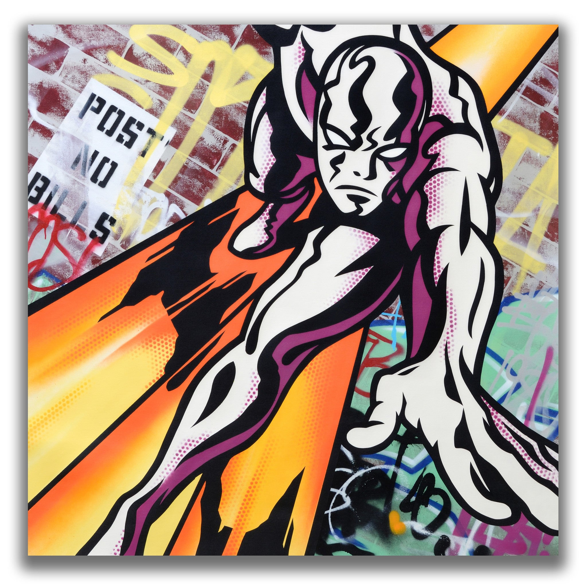 "GRAFFITI ARTIST SEEN  -  ""Silver Surfer""  Aerosol on  Canvas"