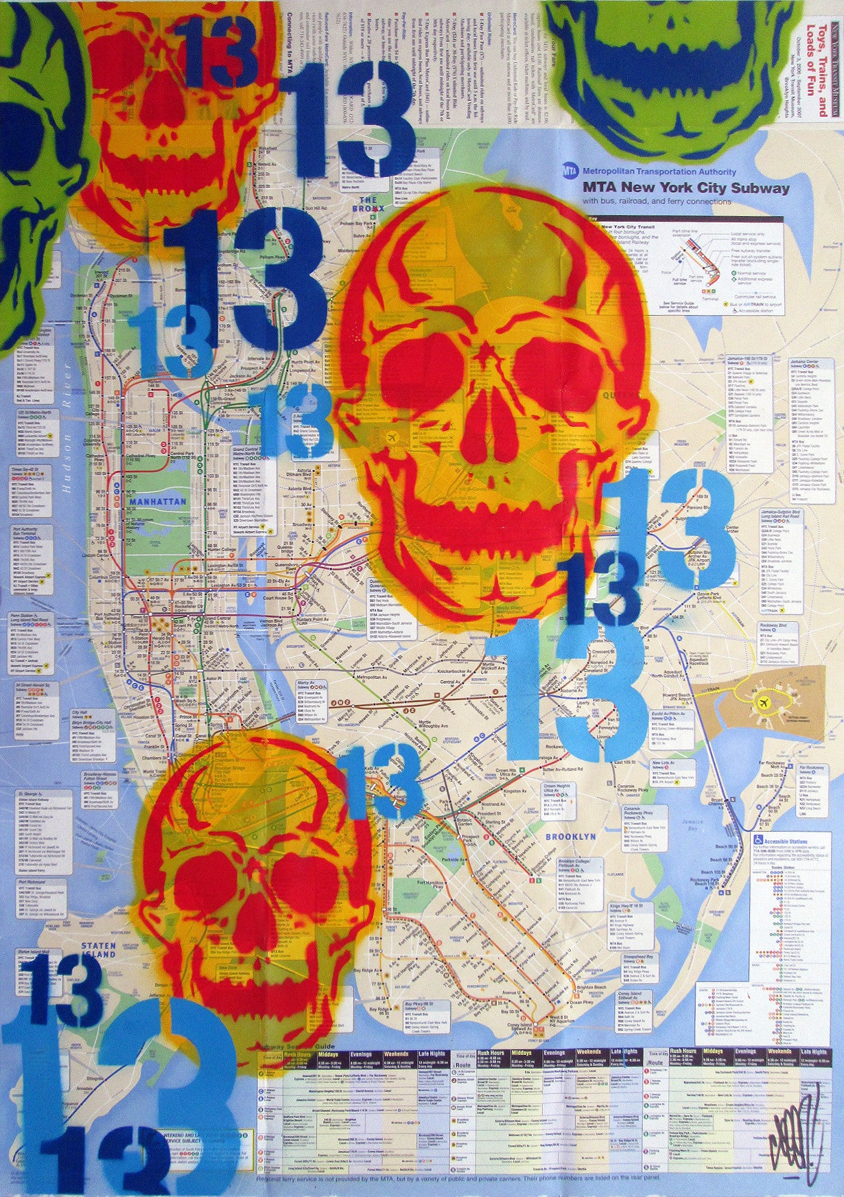 "GRAFFITI ARTIST SEEN -  ""Skull 13"" NYC Map"