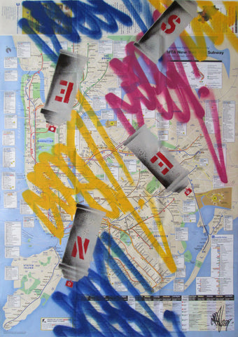 "GRAFFITI ARTIST SEEN -  ""Cans & Tags 1"" NYC Map"