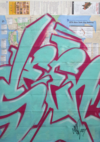 "GRAFFITI ARTIST SEEN -  ""Full SEEN Blue"" NYC Map"