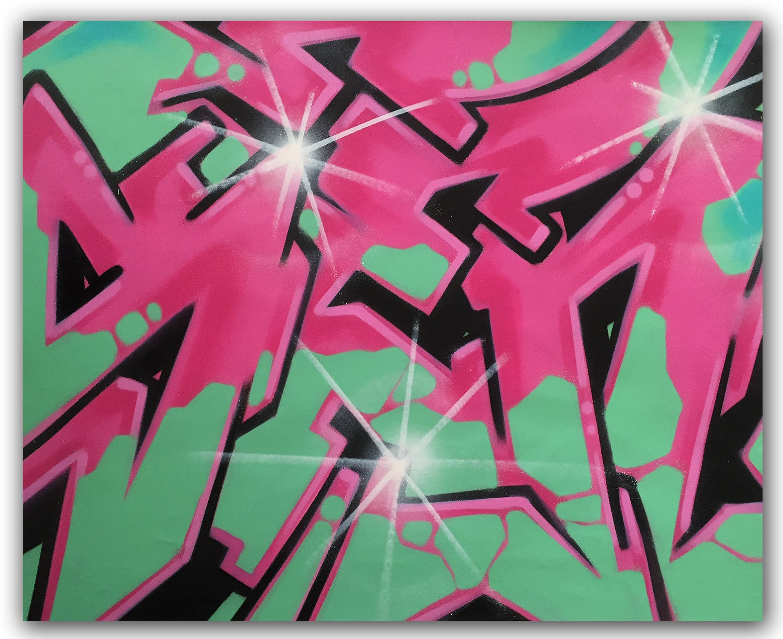 "GRAFFITI ARTIST SEEN  -  ""Wildstyle""  Aerosol on  Canvas"