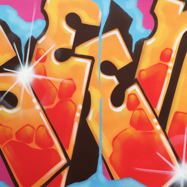 "GRAFFITI ARTIST SEEN  -  ""Wildstyle 8""  Aerosol on  Canvas"