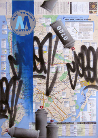 "GRAFFITI ARTIST SEEN -  ""Mad Transit""  NYC Transit Map"