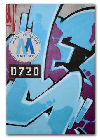 "GRAFFITI ARTIST SEEN -  ""Mad Transit 6""  Painting on Canvas"
