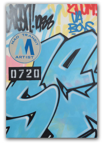 "GRAFFITI ARTIST SEEN -  ""Mad Transit""  Painting on Canvas"