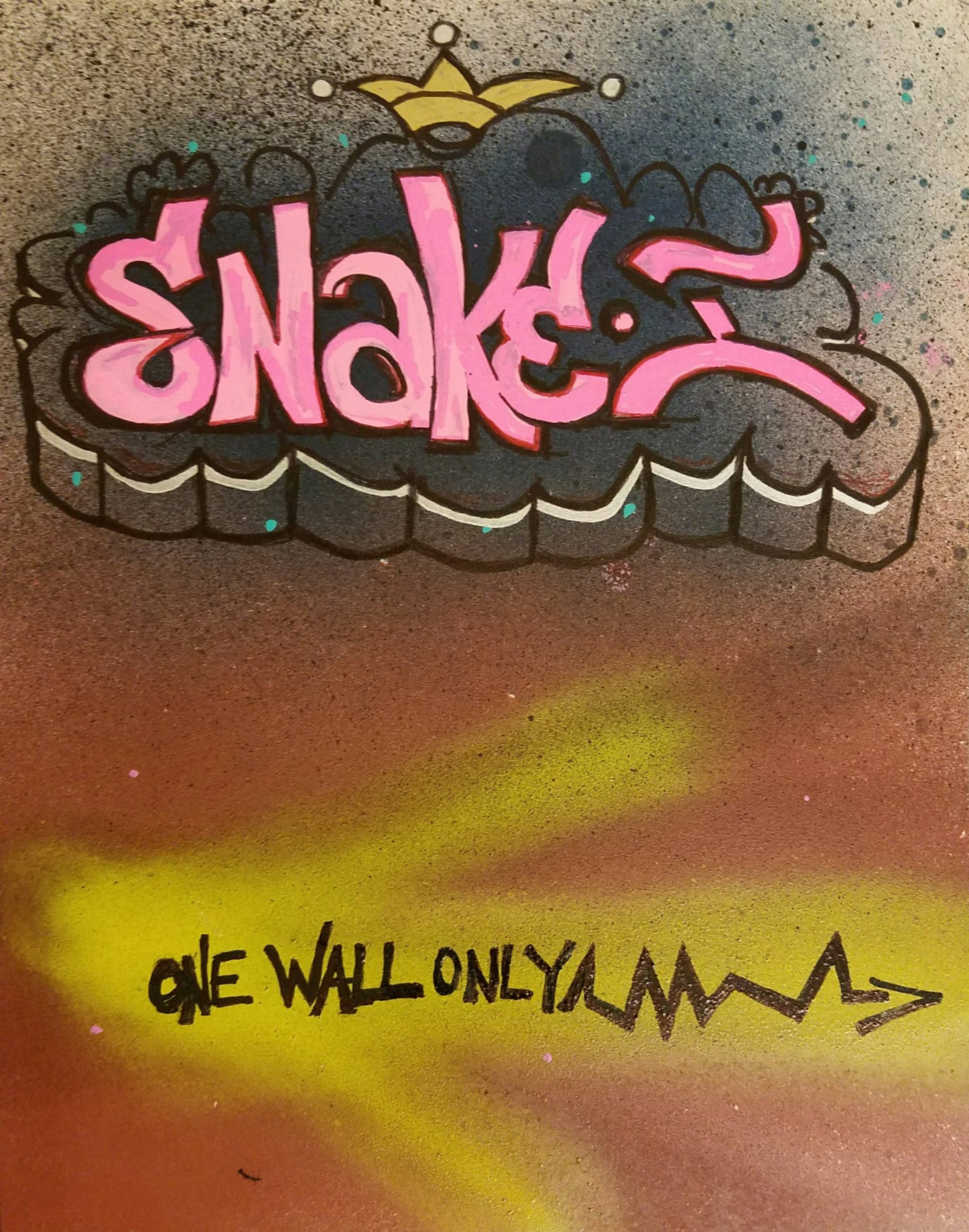 Snake 1 one wall only black book drawing