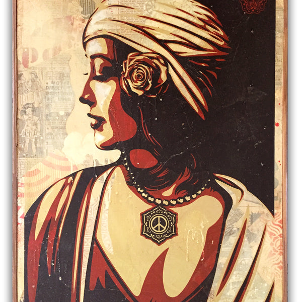 "SHEPARD FAIREY- ""Harmony"" HPM on wood"