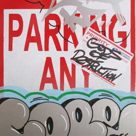 "COPE 2 - ""Silver Classic Bubble #37"" No Parking Sign"