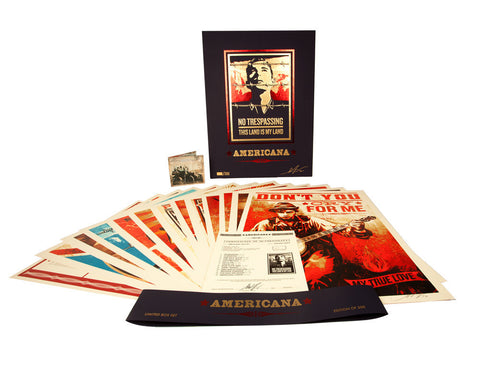 "SHEPARD FAIREY - ""Americana"" Boxed Set Neil Young 13 Prints and CD"