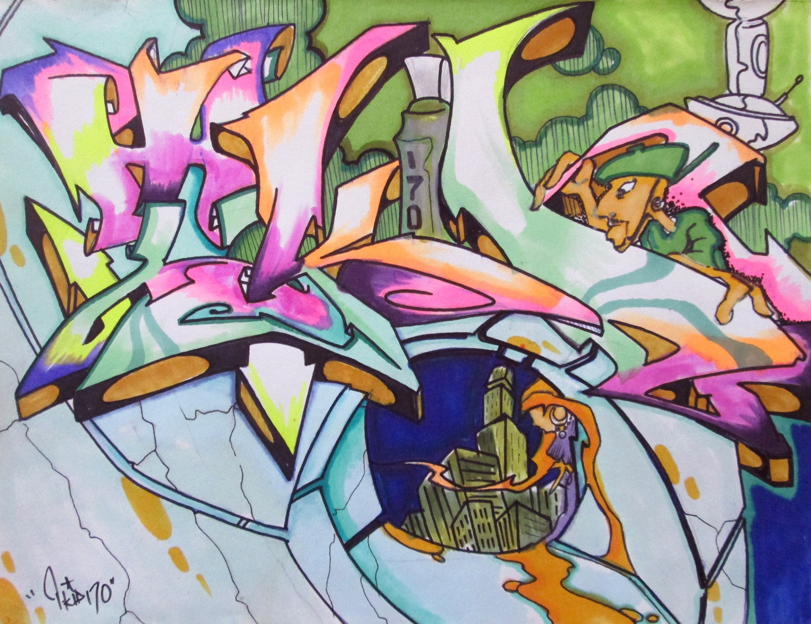 "T-KID 170  - ""Tkid""     Black Book Drawing"