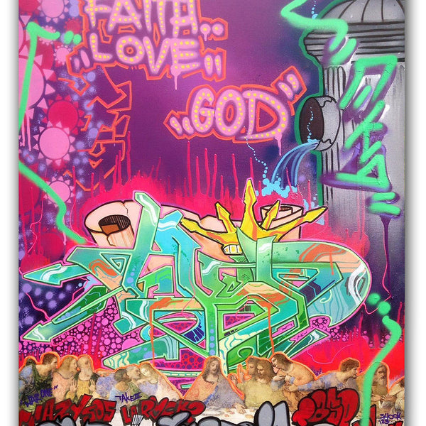 "T-KID 170  - ""Faith, Love, God""  Painting"