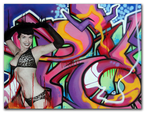"T-KID 170  - ""Tribute to Betty Page"" Painting"