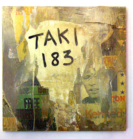 "TAKI-183 ""Tagged Collage"" on wood"