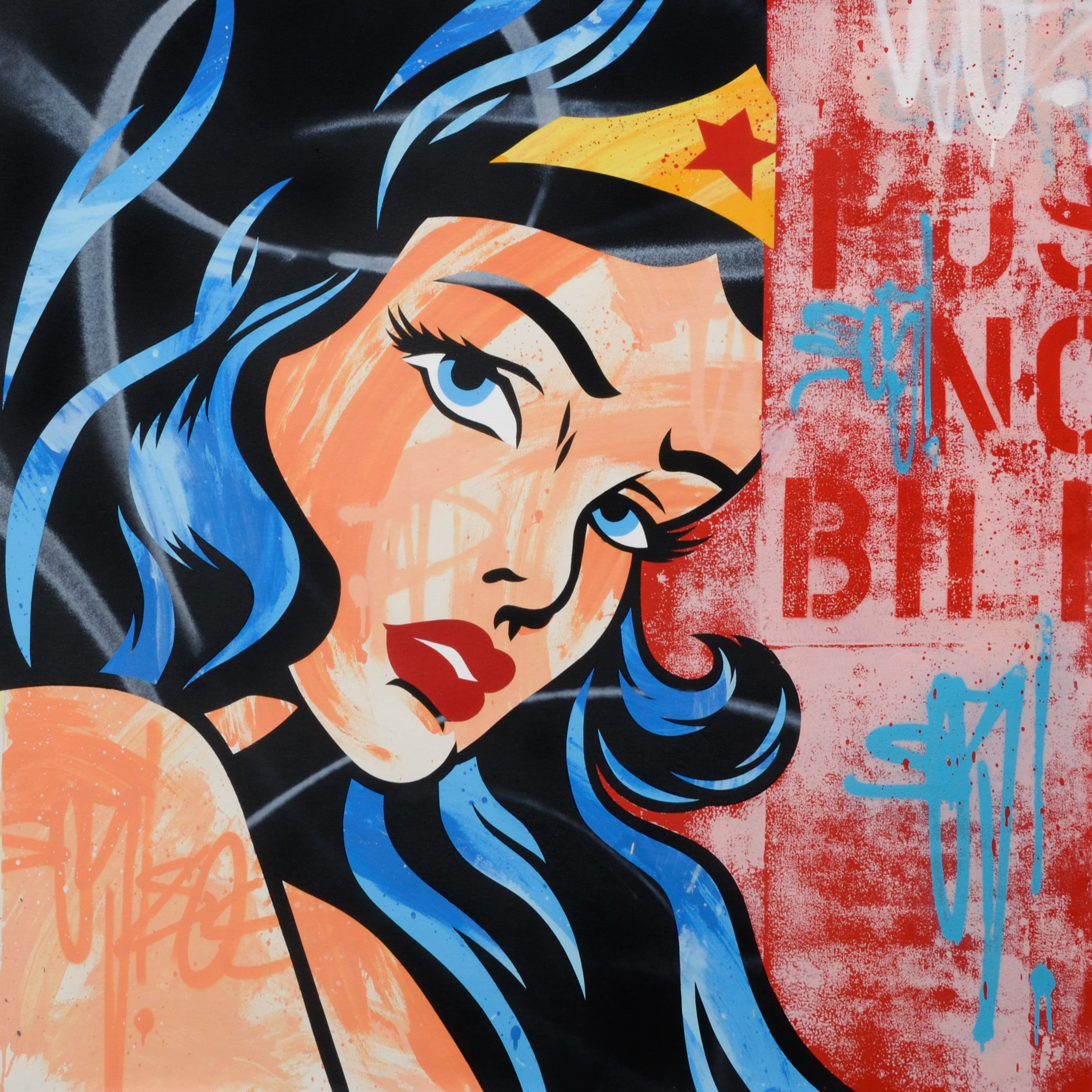 "GRAFFITI ARTIST SEEN  -  ""Wonder Woman""  Aerosol on  Canvas"