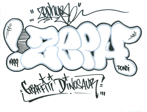 "ZEPHYR - ""Graffiti Dinosaur"" Black Book Page"