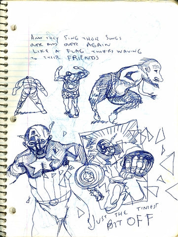 "DANIEL JOHNSTON -  ""Captain Notebook drawing 2 Sided"""