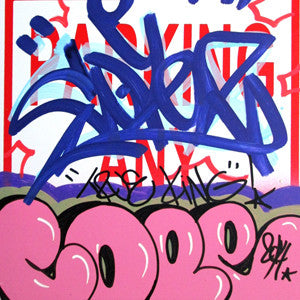"COPE 2 - ""Pink Classic Bubble "" No Parking Sign"