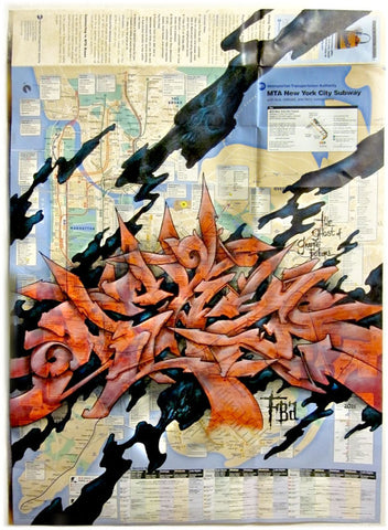 "EAZ ONE - ""The Ghost of Graffiti Future"" NYC Subway Map"