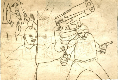 "ALBERT REYES -  ""Untitled"" (with Gun) Etching"