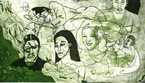 "ALBERT REYES -  ""Untitled"" (Green) Etching"