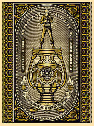 "SHEPARD FAIREY - ""World Police State Champs Gold"""