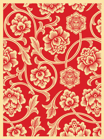 "SHEPARD FAIREY - ""Flower Vine""  Red"