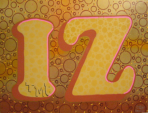 IZ THE WIZ - Gold Izzy Bubbles- On Canvas